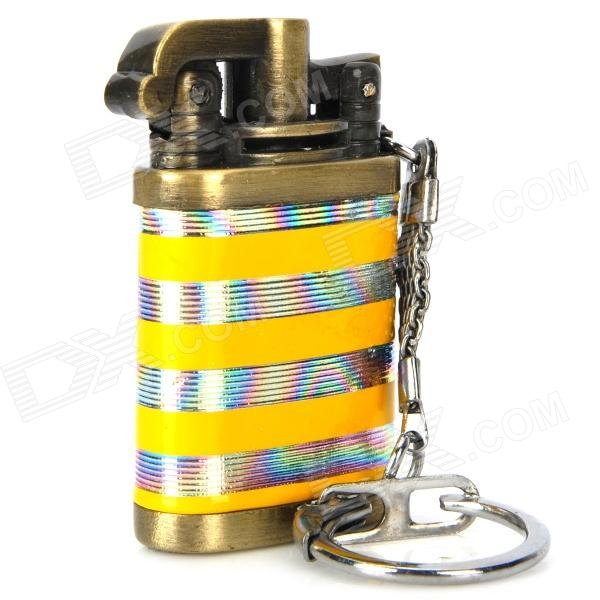 Horizontal Stripe Pattern Butane Gas Lighter w/ Keychain - Silver + Yellow horizontal stripe pattern butane gas lighter w keychain silver yellow