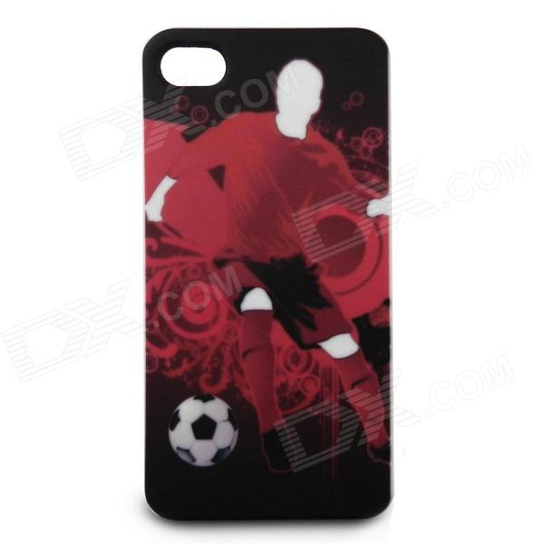 Full Protection Protective Front + Back Case Set for Iphone 4 / 4S - Man Playing Football (Red) protective cartoon silicone back case for iphone 4 4s red white