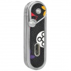 Flower Pattern Windproof Butane Jet Lighter - Silver + Black