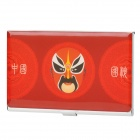 Chinese Peking Opera Faces Pattern Business Card Case - Red (Approx. 15-Card)