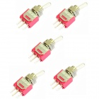 Electrical DIY Power Control 3-Pin Toggle Switch - Red + Silver (5-Piece Pack)