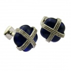Stylish Square Opal Cufflinks w/ Cross Line for Men - Golden + Blue (Pair)