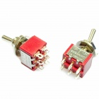 Electrical DIY Power Control 6-Pin Toggle Switch - Red + Silver (5-Piece Pack)