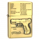 Gun Pattern Zinc Alloy Kerosene Oil Lighter - Golden