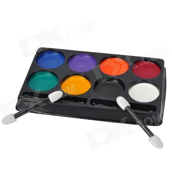 8-Color Halloween Rollspel Makeup Paint Kit w / Borstar