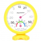 Mini Indoor + Outdoor Battery-Free Thermometer Humidity Meter - Yellow