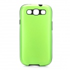 2-in-1 Protective Silicone Back Case w/ Aluminum Cover for Samsung Galaxy S3 i9300 - Green + Black