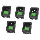 AC 250V 10A Power Jack Sockets w/ Switch - Black (5-Pack)