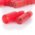 Bullet Shaped Insulated Female + Male Terminal Blocks - Red (50-Pairs Pack)