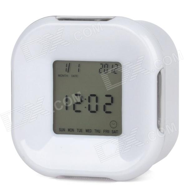 "Fashion 1.7"" LCD Four-Sided Alarm Clock w/ Calendar / Timer / Temperature - White (3 x AAA)"
