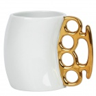 Unique Boxing Style Ceramic + Metal Cup - White + Golden