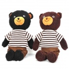 Cute Bear Couple Toy Dolls w/ Stripe T-Shirt - Black + Brown