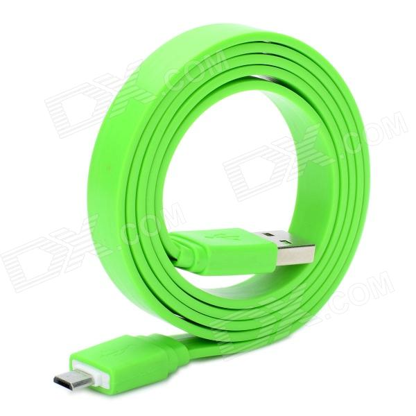 Universal Flat USB 2.0 Data / Charging Cable with Micro USB Port for Samsung / HTC + More - Green 103b universal usb to micro usb data charging cable for samsung htc more deep pink 100cm