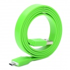 Universal Flat USB 2.0 Data / Charging Cable with Micro USB Port for Samsung / HTC + More - Green