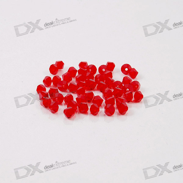 Austria Ornamental DIY Crystal Beads Red (50-Pack)