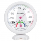 Mini Indoor + Outdoor Battery-Free Thermometer Humidity Meter - White