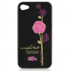 Stylish Rose Pattern Protective PC Back Case for Iphone 4 / 4S - Deep Pink + Black