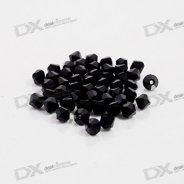 Austria Ornamental DIY Crystal Beads Black (50-Pack)