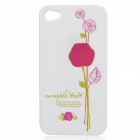 Stylish Rose Pattern Protective PC Back Case for Iphone 4 / 4S - Deep Pink + White