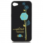 Stylish Rose Pattern Protective PC Back Case for Iphone 4 / 4S - Blue + Black
