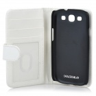Protective PU Leather Flip-Open Case w/ Card Slot for Samsung Galaxy S3 i9300 - White
