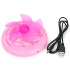 USB Powered Plastic 5-Blade Folding Cooling Fan for Computer - Pink