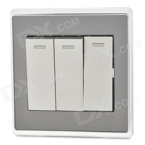 Smeong Mirror Panel 3-Gang Wall Mount Light Button Switch Plate Cover - Black + Silver от DX.com INT