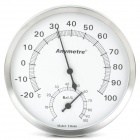 General Indoor + Outdoor Battery-Free Stainless Steel Thermometer Humidity Meter - Silver