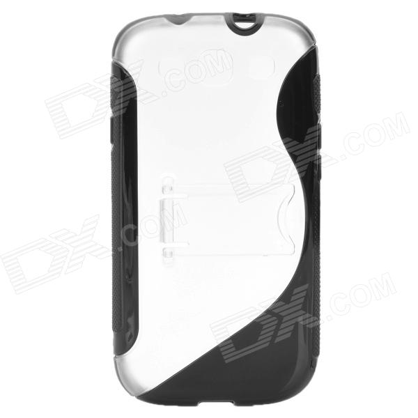 Protective TPU + PC Holder Stand Back Case for Samsung i9300 Galaxy S III - Black 8x zoom telescope lens back case for samsung i9100 black