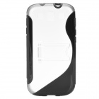 Protective TPU + PC Holder Stand Back Case for Samsung i9300 Galaxy S III - Black