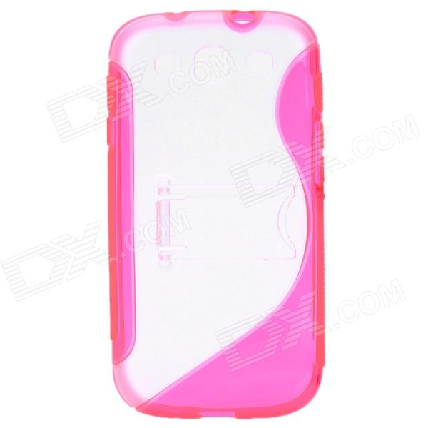 Protective Back Case with Stand Holder for Samsung Galaxy S3 i9300 - Deep Pink + Transparent White metal ring holder combo phone bag luxury shockproof case for samsung galaxy note 8