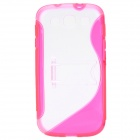Protective Back Case with Stand Holder for Samsung Galaxy S3 i9300 - Deep Pink + Transparent White