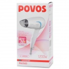 POVOS PH2503 Folding 1200W 3-Mode Hair Dryer - White + Blue (AC 220V / 2-Flat Pin Plug)