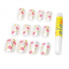 Flower Pattern Decorative ABS Nail Art Tips Set - White + Red