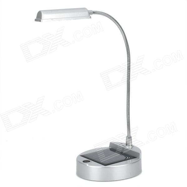 Solar Powered White Light 4-LED Desk Lamp w/ USB Data / Charging Cable - Silver