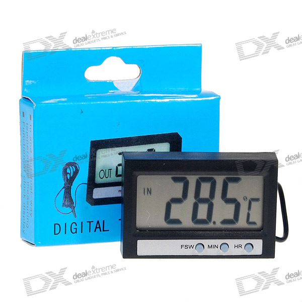 Mini Indoor/Outdoor Digital Thermometer with Clock