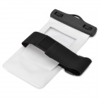 General Waterproof Bag w/ Armband / Strap for Samsung i9220 Cellphones - White + Black