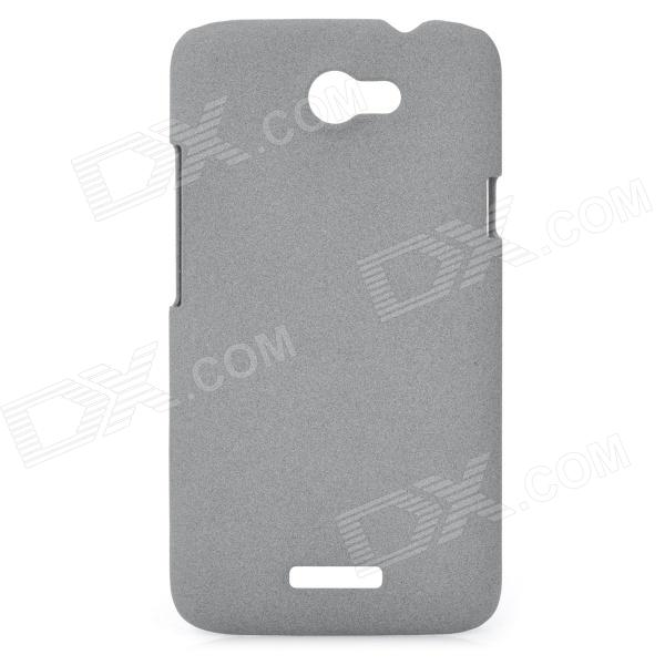 Fashion Protective Plastic Back Case w/ Screen Protector Guard Film for HTC One X - Grey remax protective silicone back case w screen protector film for nokia lumia 820 translucent white