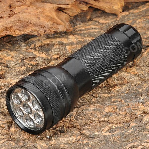 Portable 7-LED 50LM 1-Mode White Light Flashlight - Black (3 x AAA)