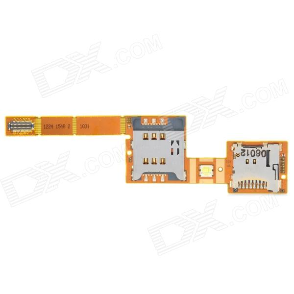 SIM Card Socket Flex Cable Ribbon for Sony Ericsson XPERIA X10 - Yellow + Silver replacement sd card slot holder flex cable ribbon for nintendo dsi golden silver