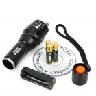 NEW-X7 800lm 5-Mode White Light Zooming Flashlight - Black (1 x 18650 / 3 x AAA)