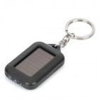 Solar Powered 3-LED White Light Keychain - Black