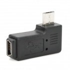 Micro USB Male to Mini USB Female Right Angle Adapter - Black