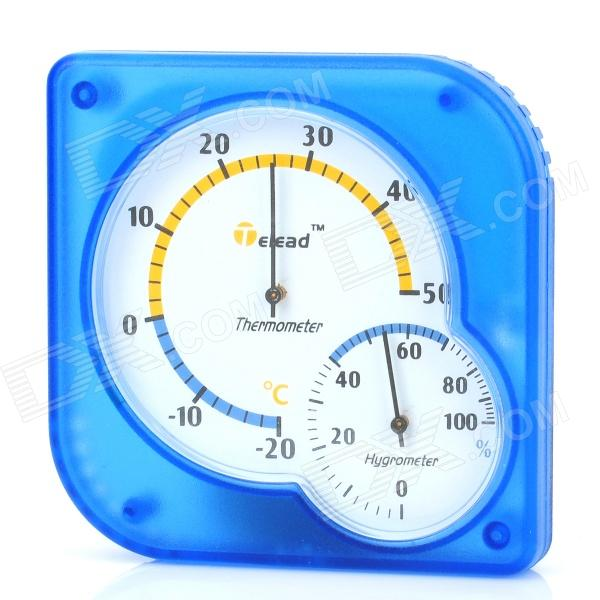 General Indoor + Outdoor Battery-Free Plastic Thermometer Hygrometer - Blue + Black