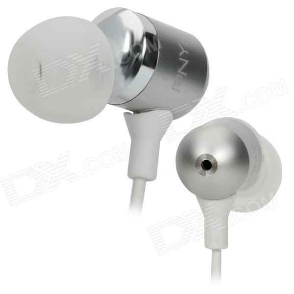 PNY Stylish In-Ear Earphones - Silver (3.5mm-Plug / 110cm-Cable) pny stylish in ear earphones silver 3 5mm plug 110cm cable