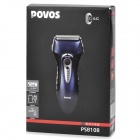 POVOS PS8108 Rechargeable 3-Head-Blade Reciprocating Shaver Razor - Blue