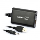 1080p USB 2.0 macho al convertidor femenino de HDMI con el cable audio de 3.5mm - negro