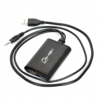 1080p USB 2.0 Male to HDMI Female Converter w/ 3.5mm Audio Cable - Black
