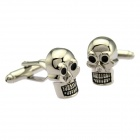 Fantastic Male's Skull Head White Steel Cufflinks - Silver (2-Piece Pack)