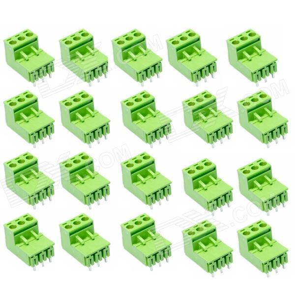 3-Pin Curved Screw Terminal Block Connectors - Green (20-Piece Pack) pierre lannier pierre lannier 014g900